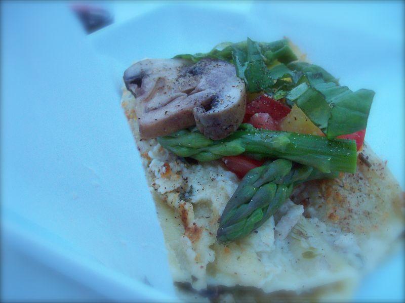 Asparagus manicotti w: creamy cashew and basil sauce