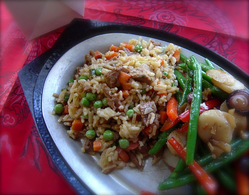 Mock duck fried rice
